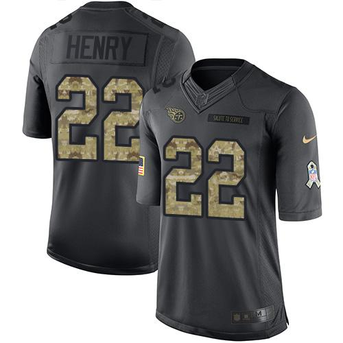 Nike Titans #22 Derrick Henry Black Men's Stitched NFL Limited 2016 Salute To Service Jersey